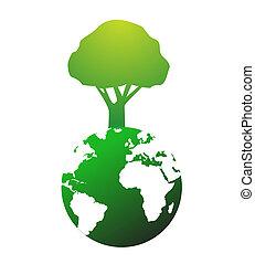 énorme, globe, arbre, illustration, mondiale