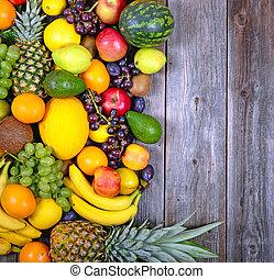 énorme, groupe, coloré, bois, -, fruit, santé, fond, frais
