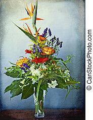 énorme, grunge, bouquet, élégant, autre, fond, paradis, mélangé, fleurs, oiseau