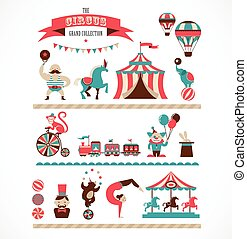 énorme, icônes, vendange, cirque, collection, carnaval, vecteur, fond, fête foraine amusante