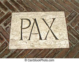 énorme, inscription, pax, symbole, paix, plaque