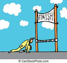 énorme, ligne, finition, effort, obtenir