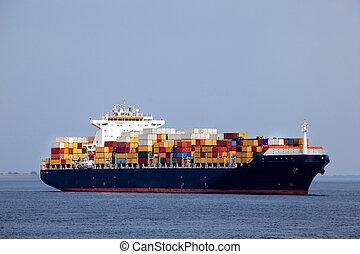 énorme, navire porte-conteneurs