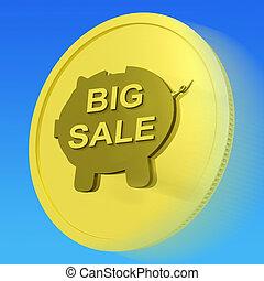 énorme, or, moyens, grand, vente, économies, argent, monnaie