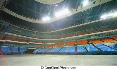 énorme, panorama, sports, complexe, salle, vide, circulaire