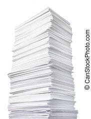 énorme, papier, pile
