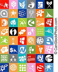 énorme, signes, collection, logos, icônes