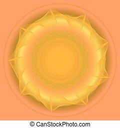 énorme, soleil, résumé, jaune, fond, orange