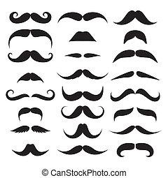 énorme, vecteur, ensemble, mustache.