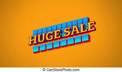 énorme, vente, carrés, graphique