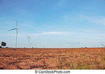 éolienne, à, bleu, sky.