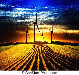 éolienne, à, coucher soleil