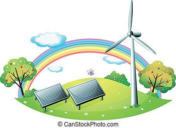 éolienne, énergie, panneaux, solaire