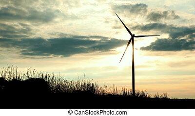 éolienne, énergie, turbines, propre, vent, vert, atteler