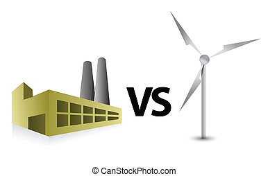 éolienne, énergie, vs, usine