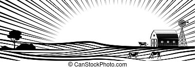 éolienne, animaux, collines, ferme, campagne, rural, fields., paysage, grange