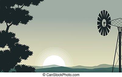 éolienne, arbre, silhouette, matin