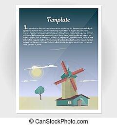 éolienne, aviateur, vecteur, illustration., livret