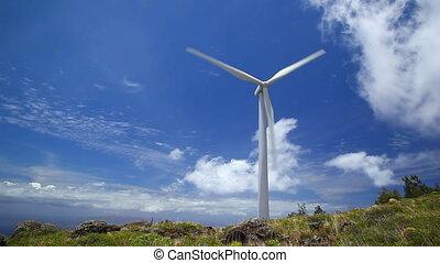 éolienne, bleu, défaillance, ciel, temps