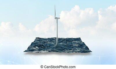 éolienne, ciel, arrière-plan., 4k, mer, 3d