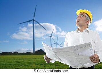 éolienne, compétence, plan, architecte, personne agee, ingénieur