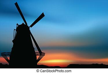 éolienne, coucher soleil