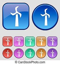 éolienne, douze, ensemble, vendange, signe., boutons, vecteur, icône, ton, design.