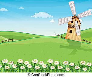 éolienne, ferme, collines, au-dessus