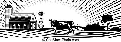 éolienne, fields., collines, vache, ferme, campagne, paysage, grange