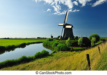 éolienne, hollande, paysage