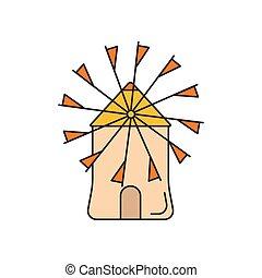 éolienne, icône, style, dessin animé