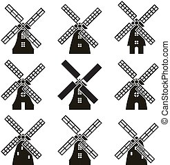 éolienne, icônes, vecteur, ensemble, noir, blanc