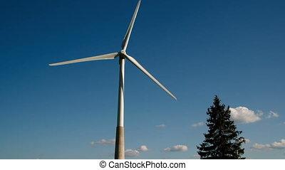 éolienne, mouvement, lent, tourner