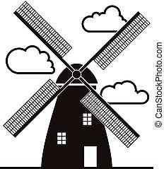 éolienne, nuages, vecteur, arrière-plan noir, blanc