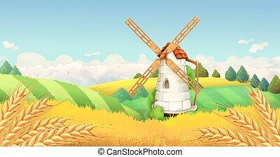 éolienne, paysage., blé, fond, vecteur, field., horizontal