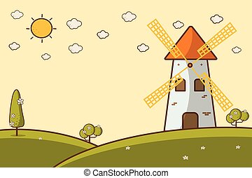 éolienne, paysage, illustration