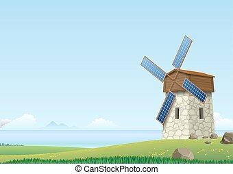 éolienne, paysage vert