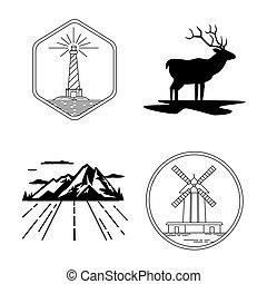 éolienne, phare, nature, cerf, silhouette, exploration, emblèmes, montagne