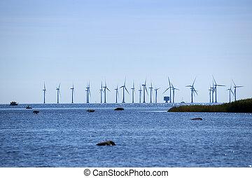 éolienne, plantage, mer, danemark