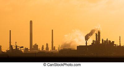 éolienne, plante, hollandais, coucher soleil, industriel, europoort, rotterdam, cheminées, pendant