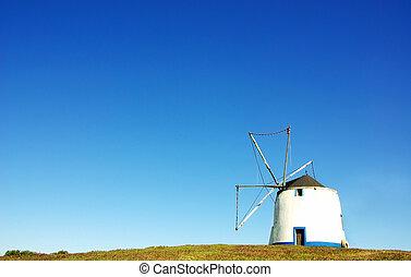 éolienne, portugais, champ