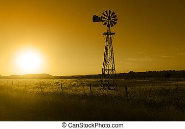 éolienne, ranch