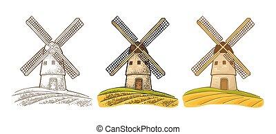 éolienne, sur, blé, field., vendange, vecteur, couleur,...