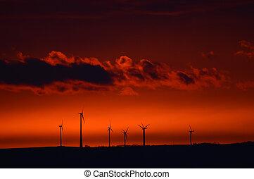 éolienne, tôt, levers de soleil