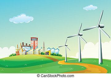 éoliennes, bâtiments, trois, élevé, sommet colline, travers