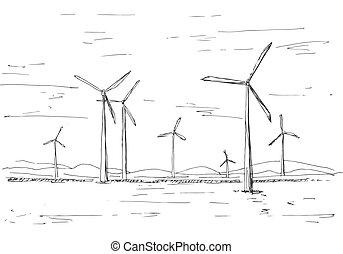 éoliennes, fond, style, illustration, main, vecteur, croquis, dessiné, montagnes.