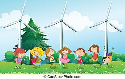 éoliennes, gosses, sept, trois, colline, jouer