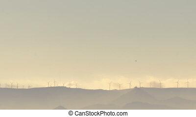 éoliennes, silhouette, électricité, timelapse, générer, turbine, vent, sunset.