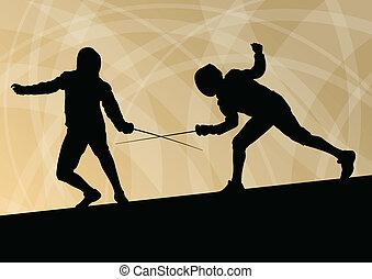 épée, combattants, actif, jeunes hommes, fencing sport, silhouettes, vecteur, résumé, fond, illustration