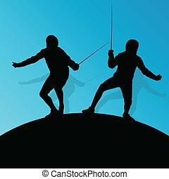 épée, escrime, résumé, jeune, combat, silhouettes, vecteur,...